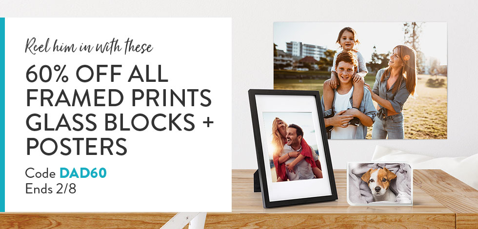60% off Framed Prints, Posters and Glass blocks