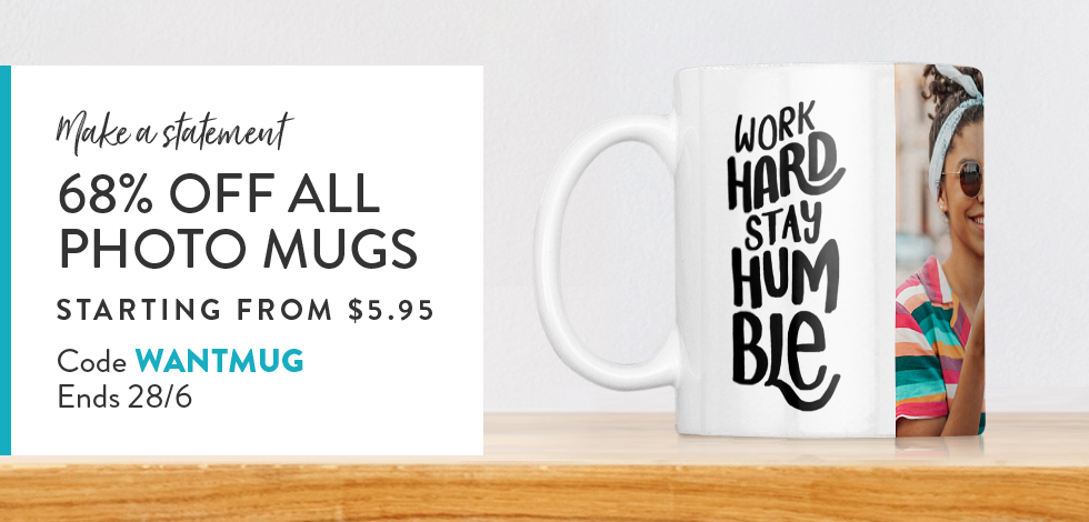 68% off all Photo Mugs