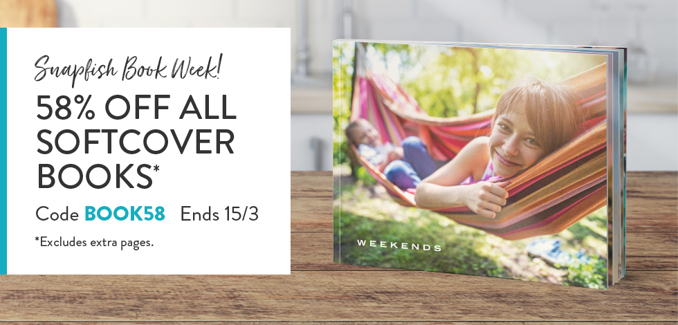58% off all Softcover Photo Books*