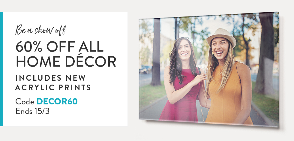 60% off all Home Decor + Framed Prints
