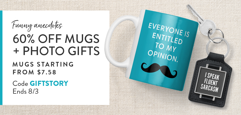 60% off all Mugs + Photo Gifts