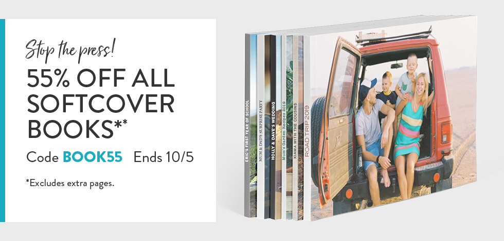 55% off Softcover Photo Books*