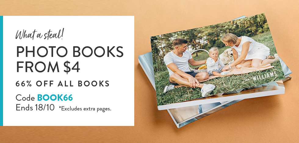 66% off all Photo Books (excludes extra pages)