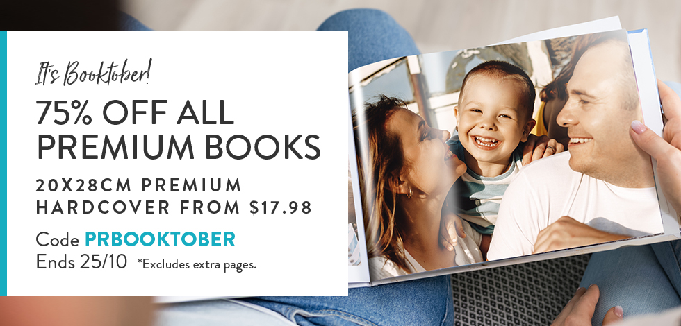 75% off all Premium Photo Books - excludes extra pages
