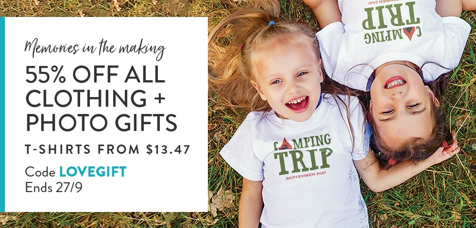 55% off all Custom Clothing & Photo Gifts