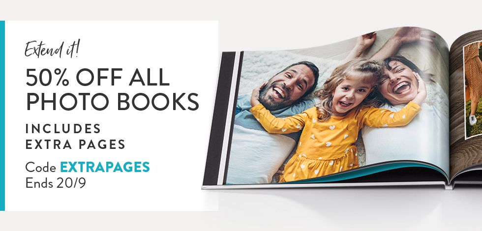 50% off all Photo Books. Includes extra pages!