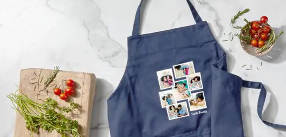 This just in! Custom navy aprons to create with confidence